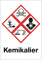 Skylt Kemikalier A5 plast