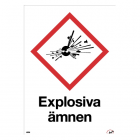 Varningsskylt: Explosiva ämnen