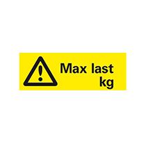 Skylt Max last kg [1/2 A4]