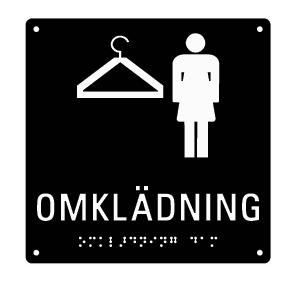 Taktil skylt med punktskrift - Omklädning Dam