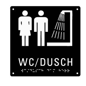 Taktil skylt med punktskrift - Dusch Unisex