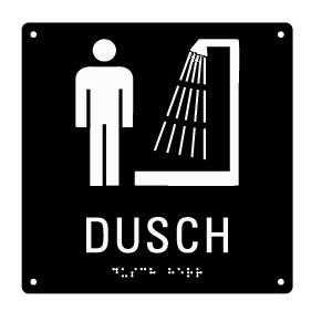 Taktil skylt med punktskrift - Dusch Herr