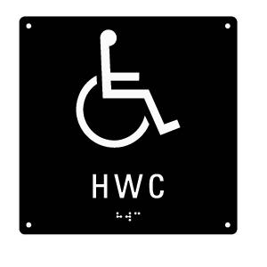 Taktil skylt med punktskrift - HWC