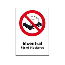 Skylt Elcentral får ej blockeras